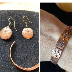 Southwestern copper earrings and cuff